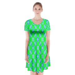 Mod Blue Circles On Bright Green Short Sleeve V Neck Flare Dress by BrightVibesDesign