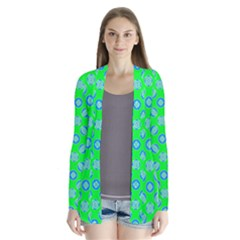 Mod Blue Circles On Bright Green Drape Collar Cardigan by BrightVibesDesign
