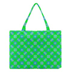 Mod Blue Circles On Bright Green Medium Tote Bag by BrightVibesDesign