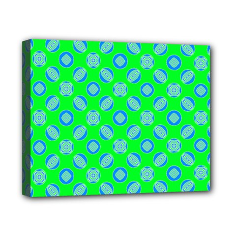 Mod Blue Circles On Bright Green Canvas 10  X 8  by BrightVibesDesign
