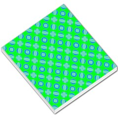 Mod Blue Circles On Bright Green Small Memo Pads by BrightVibesDesign