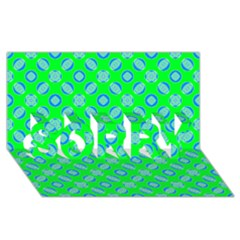 Mod Blue Circles On Bright Green Sorry 3d Greeting Card (8x4) by BrightVibesDesign