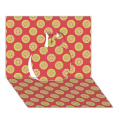 Mod Yellow Circles On Orange Apple 3d Greeting Card (7x5) by BrightVibesDesign