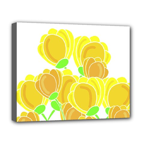 Yellow Flowers Deluxe Canvas 20  X 16   by Valentinaart