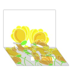 Yellow Flowers Love Bottom 3d Greeting Card (7x5) by Valentinaart
