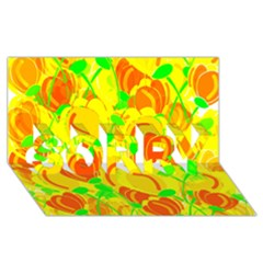 Yellow Garden Sorry 3d Greeting Card (8x4) by Valentinaart