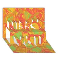 Orange Garden Miss You 3d Greeting Card (7x5) by Valentinaart