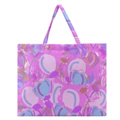 Pink Garden Zipper Large Tote Bag by Valentinaart