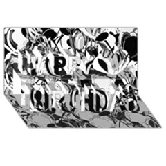 Black And White Garden Happy Birthday 3d Greeting Card (8x4)