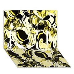 Yellow Abstract Garden I Love You 3d Greeting Card (7x5) by Valentinaart