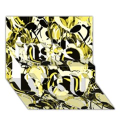 Yellow Abstract Garden Miss You 3d Greeting Card (7x5)