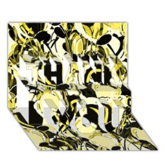 Yellow Abstract Garden Thank You 3d Greeting Card (7x5) by Valentinaart