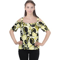 Yellow Abstract Garden Women s Cutout Shoulder Tee by Valentinaart