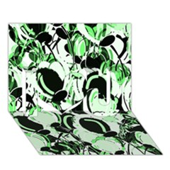 Green Abstract Garden I Love You 3d Greeting Card (7x5)