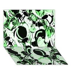 Green Abstract Garden Circle 3d Greeting Card (7x5)