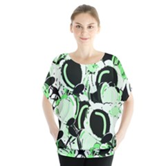 Green Abstract Garden Blouse by Valentinaart