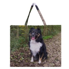 Australian Shepherd Black Tri Sitting Zipper Large Tote Bag by TailWags
