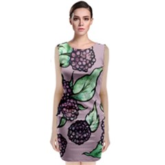 Black Raspberry Fruit Purple Pattern Classic Sleeveless Midi Dress
