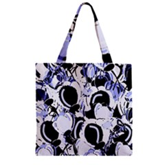 Blue Abstract Floral Design Zipper Grocery Tote Bag by Valentinaart