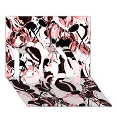 Pink Abstract Garden Boy 3d Greeting Card (7x5)