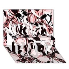 Pink Abstract Garden Work Hard 3d Greeting Card (7x5) by Valentinaart