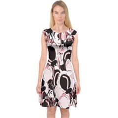 Pink Abstract Garden Capsleeve Midi Dress