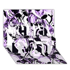 Purple Abstract Garden Thank You 3d Greeting Card (7x5) by Valentinaart