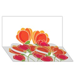 Orange Flowers  Twin Heart Bottom 3d Greeting Card (8x4) by Valentinaart