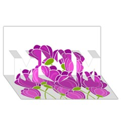 Purple Flowers Mom 3d Greeting Card (8x4) by Valentinaart