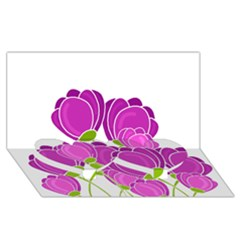 Purple Flowers Twin Heart Bottom 3d Greeting Card (8x4) by Valentinaart