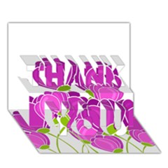 Purple Flowers Thank You 3d Greeting Card (7x5) by Valentinaart