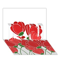 Red Floral Design I Love You 3d Greeting Card (7x5) by Valentinaart