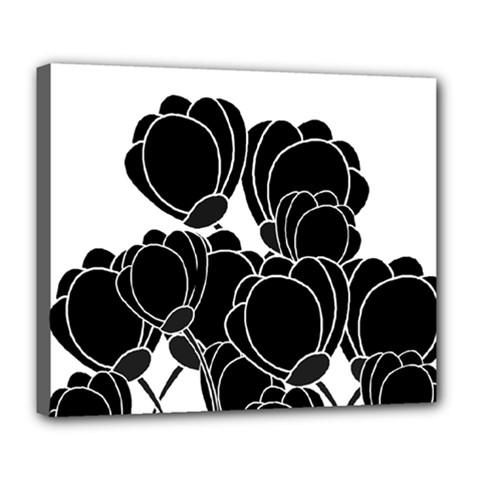 Black Flowers Deluxe Canvas 24  X 20   by Valentinaart