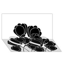 Black Flowers Twin Heart Bottom 3d Greeting Card (8x4) by Valentinaart