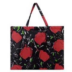Red Roses Zipper Large Tote Bag by Valentinaart