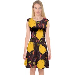 Yellow Roses  Capsleeve Midi Dress