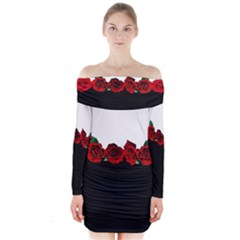 Black And White With Red Roses Design  Long Sleeve Off Shoulder Dress by GabriellaDavid