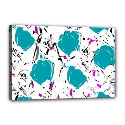 Cyan Roses Canvas 18  X 12  by Valentinaart