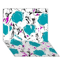 Cyan Roses I Love You 3d Greeting Card (7x5) by Valentinaart