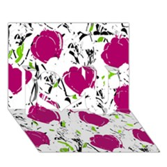 Magenta Roses I Love You 3d Greeting Card (7x5)