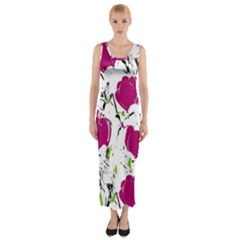 Magenta Roses Fitted Maxi Dress by Valentinaart