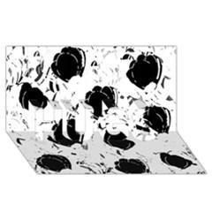 Black Roses Hugs 3d Greeting Card (8x4)