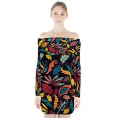 Colorful Leaves Design On Black Background  Long Sleeve Off Shoulder Dress by GabriellaDavid