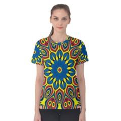 Yellow Flower Mandala Women s Cotton Tee by designworld65