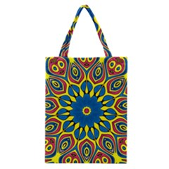 Yellow Flower Mandala Classic Tote Bag by designworld65
