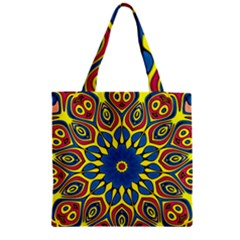 Yellow Flower Mandala Zipper Grocery Tote Bag by designworld65