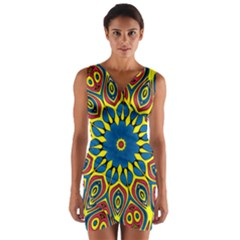 Yellow Flower Mandala Wrap Front Bodycon Dress by designworld65