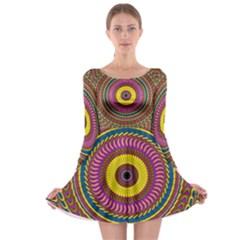 Ornament Mandala Long Sleeve Skater Dress by designworld65