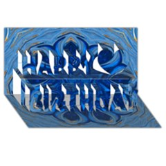 Blue Blossom Mandala Happy Birthday 3d Greeting Card (8x4) by designworld65