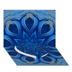 Blue Blossom Mandala Heart Bottom 3d Greeting Card (7x5) by designworld65